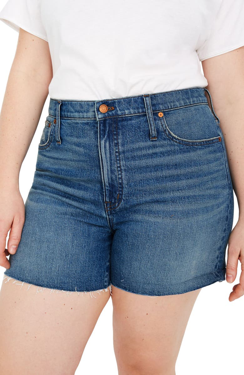 MADEWELL High Waist Denim Shorts, Main, color, 400