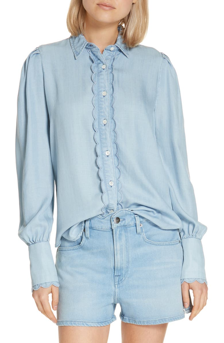 FRAME Scalloped Denim Shirt, Main, color, 401