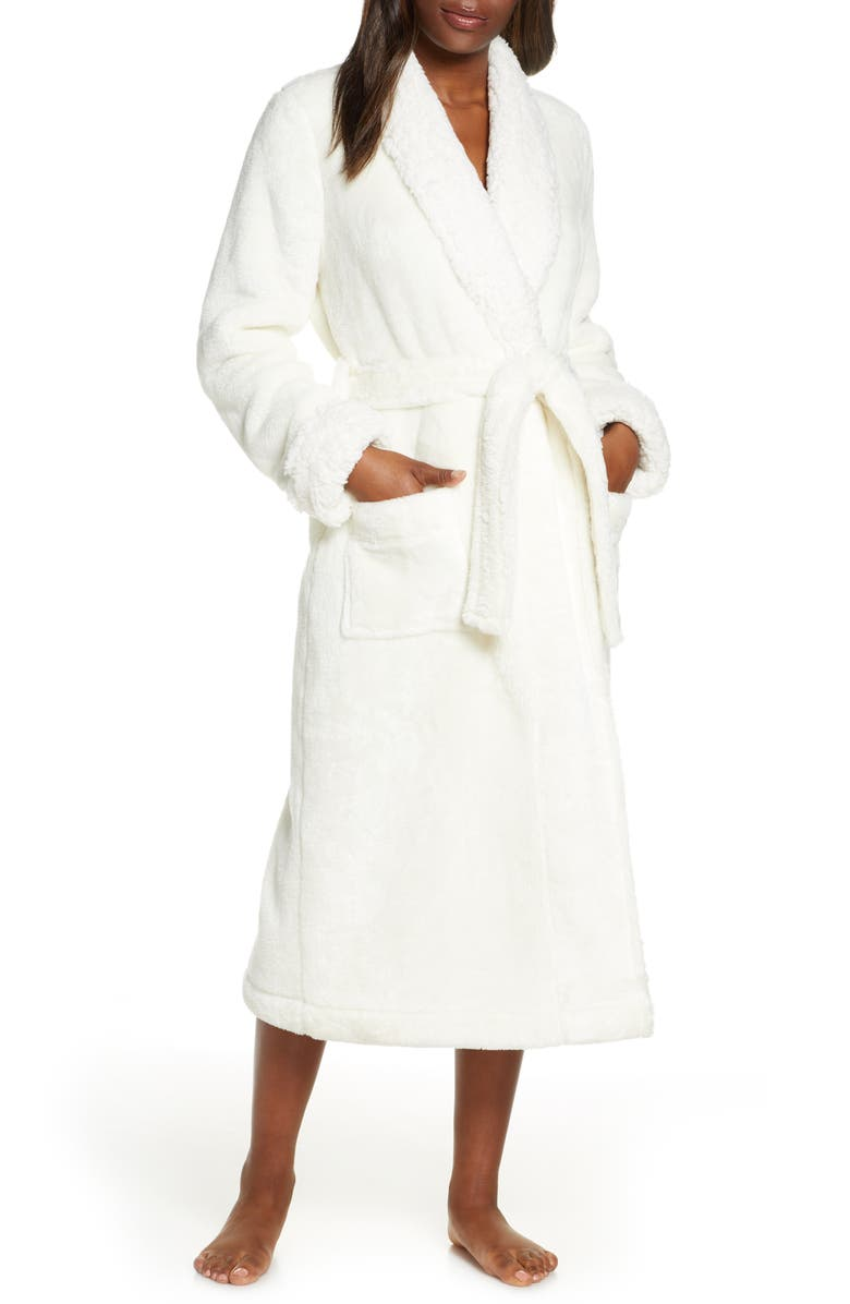 NORDSTROM Frosted Plush Robe, Main, color, IVORY EGRET
