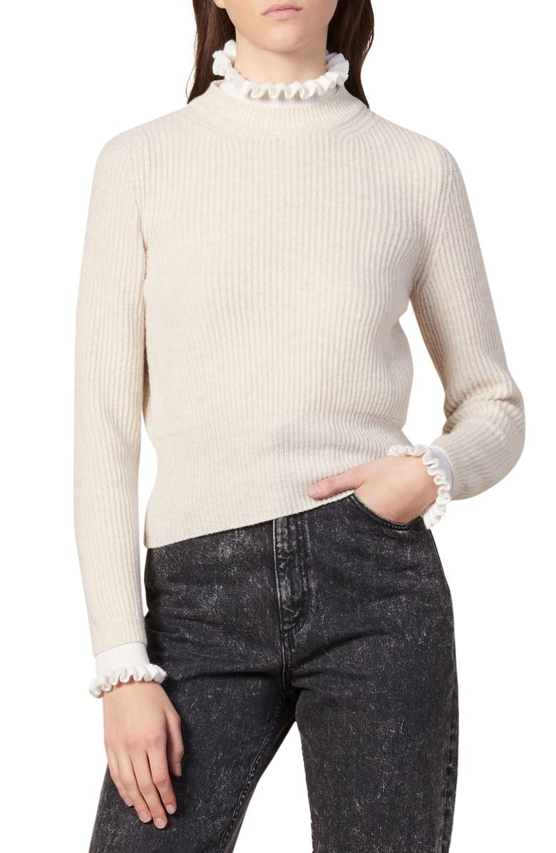 SANDRO Mike Ruffle Mock Neck Pullover, Main, color, BEIGE