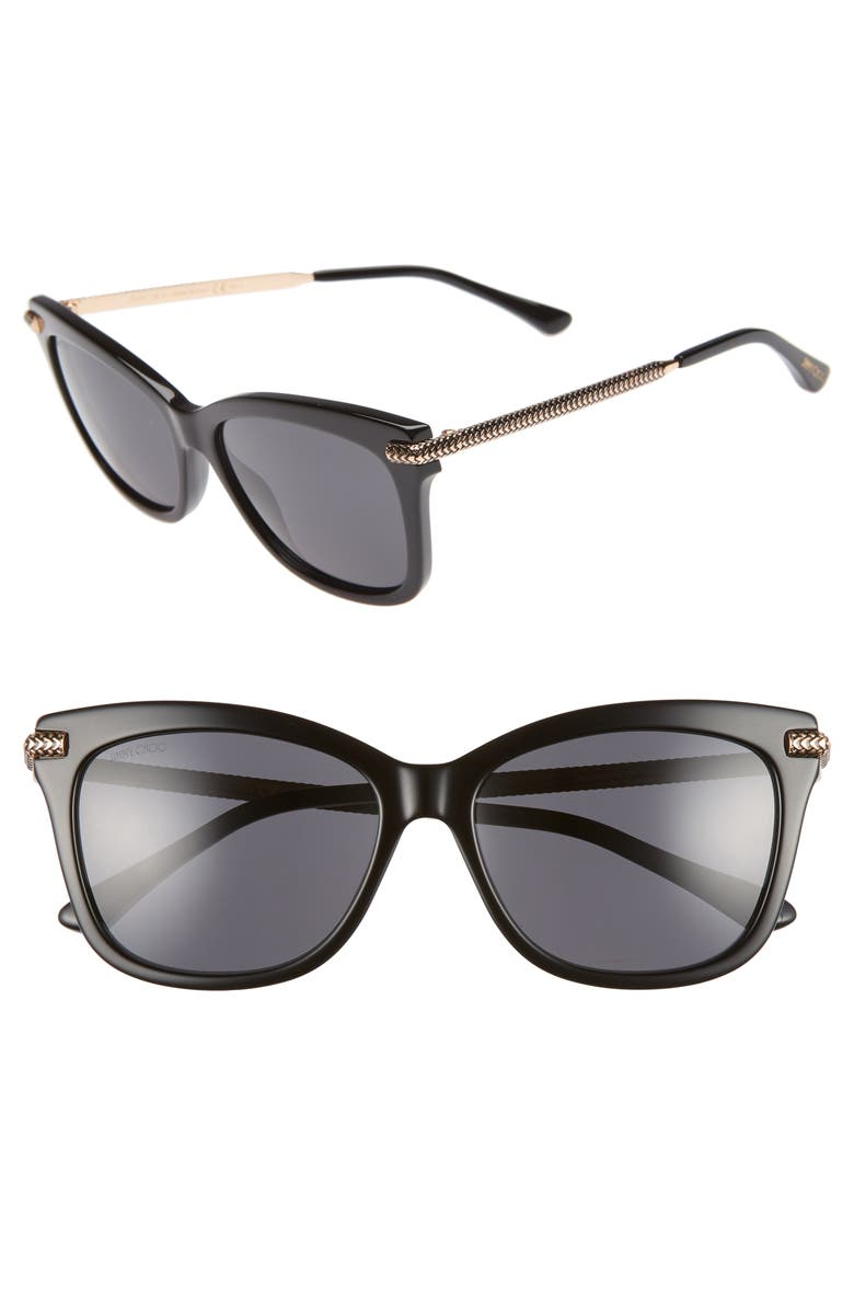 JIMMY CHOO Shade 55mm Cat Eye Sunglasses, Main, color, BLACK