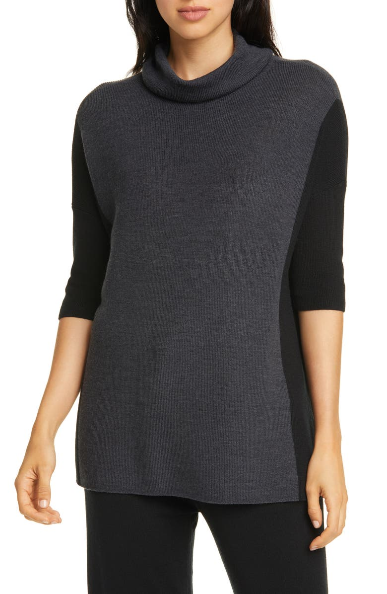 Color Block Merino Wool Sweater by Eileen Fisher