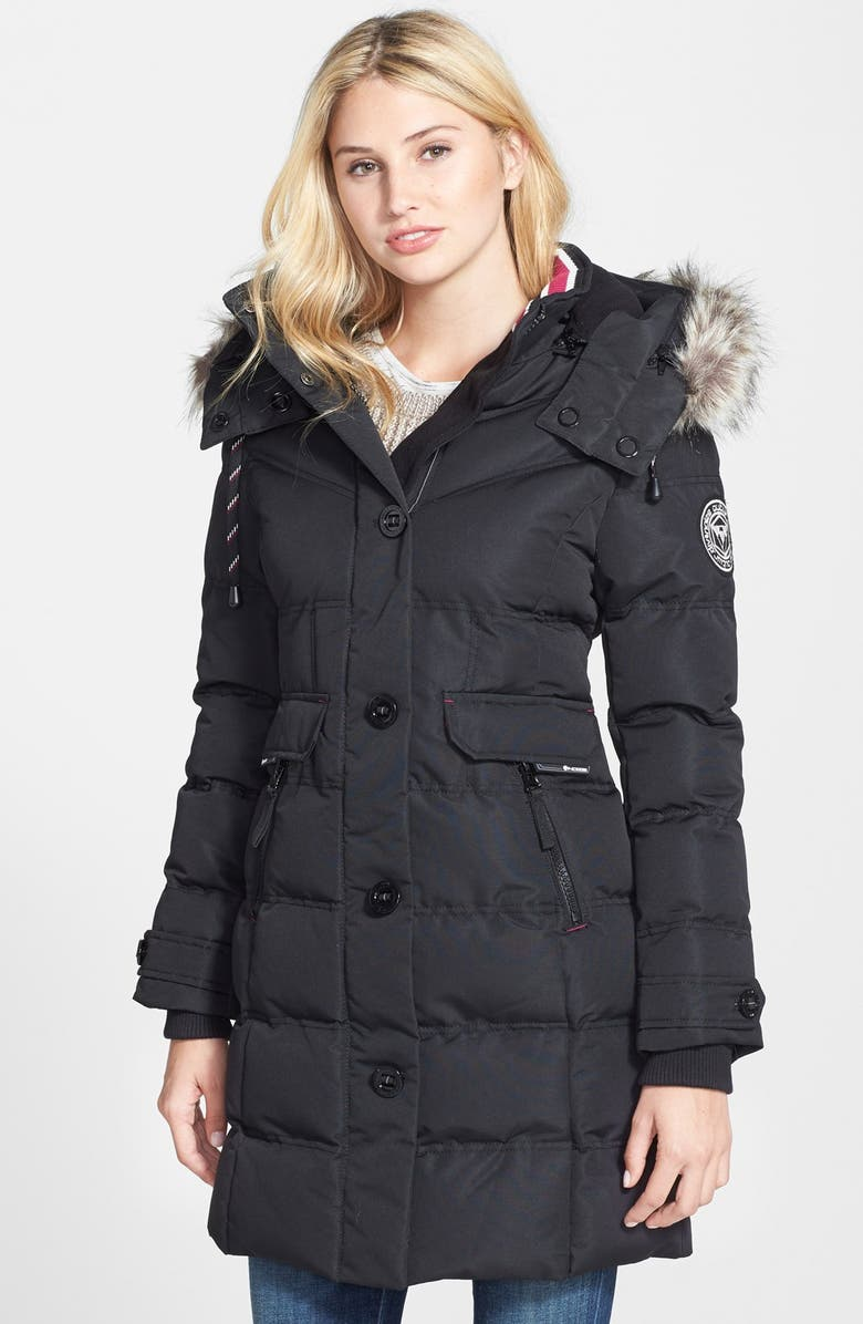 NOIZE Full Length Parka with Faux Fur Trim, Main, color, 001