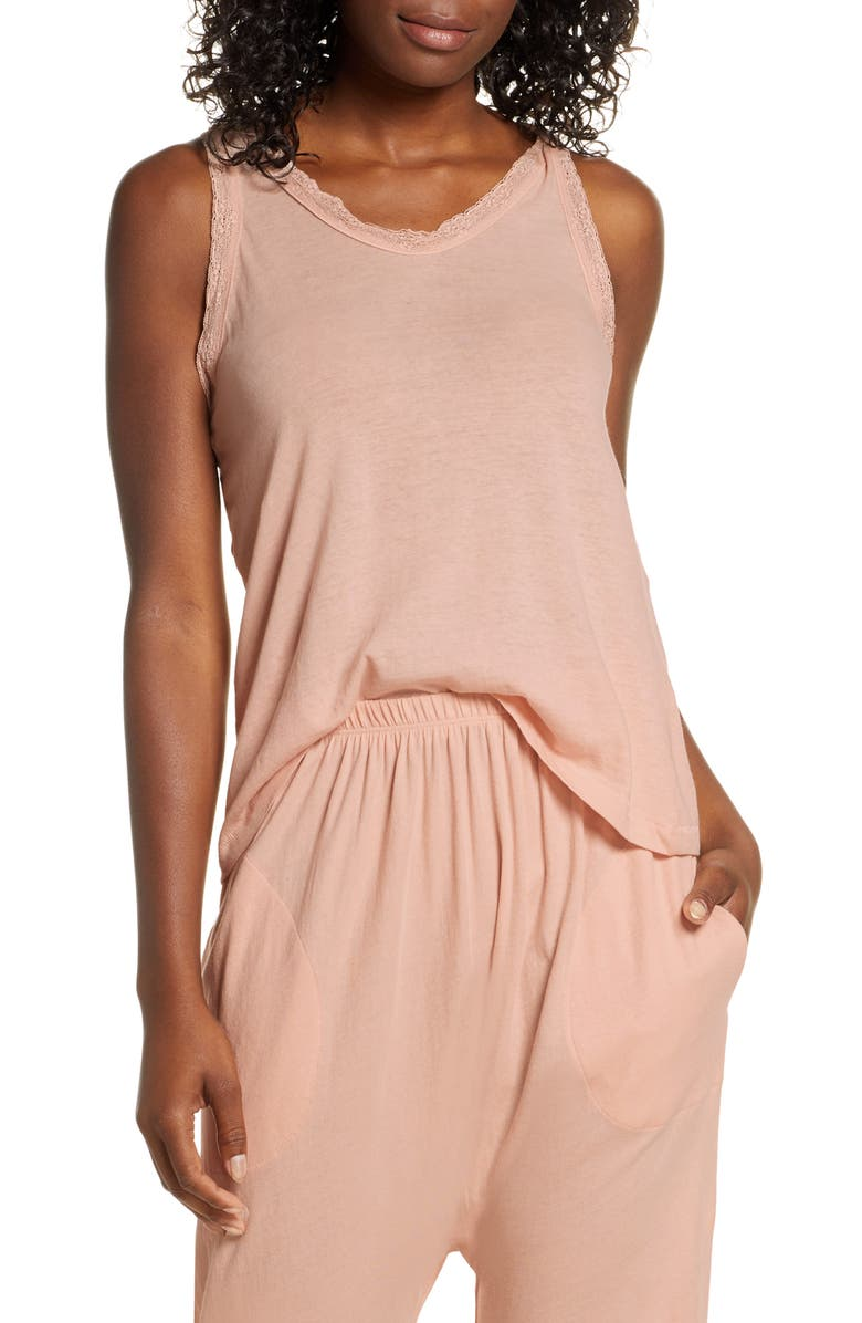 THE GREAT. The Lace Racer Tank, Main, color, ROSE DUST
