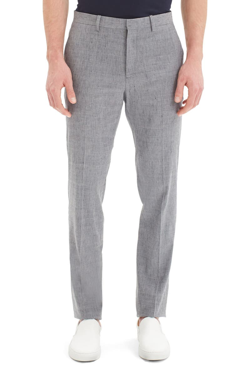 THEORY Mayer Slim Fit Neppy Linen Blend Pants, Main, color, REEF