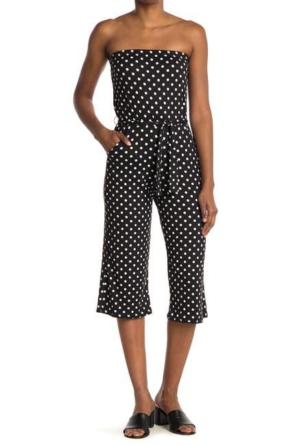 Image of Velvet Torch Polka Dot Waist Tie Jumpsuit