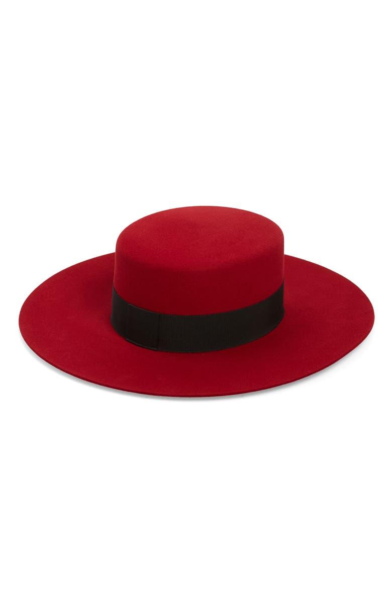 SAINT LAURENT Fur Felt Boater Hat, Main, color, RED/ BLACK