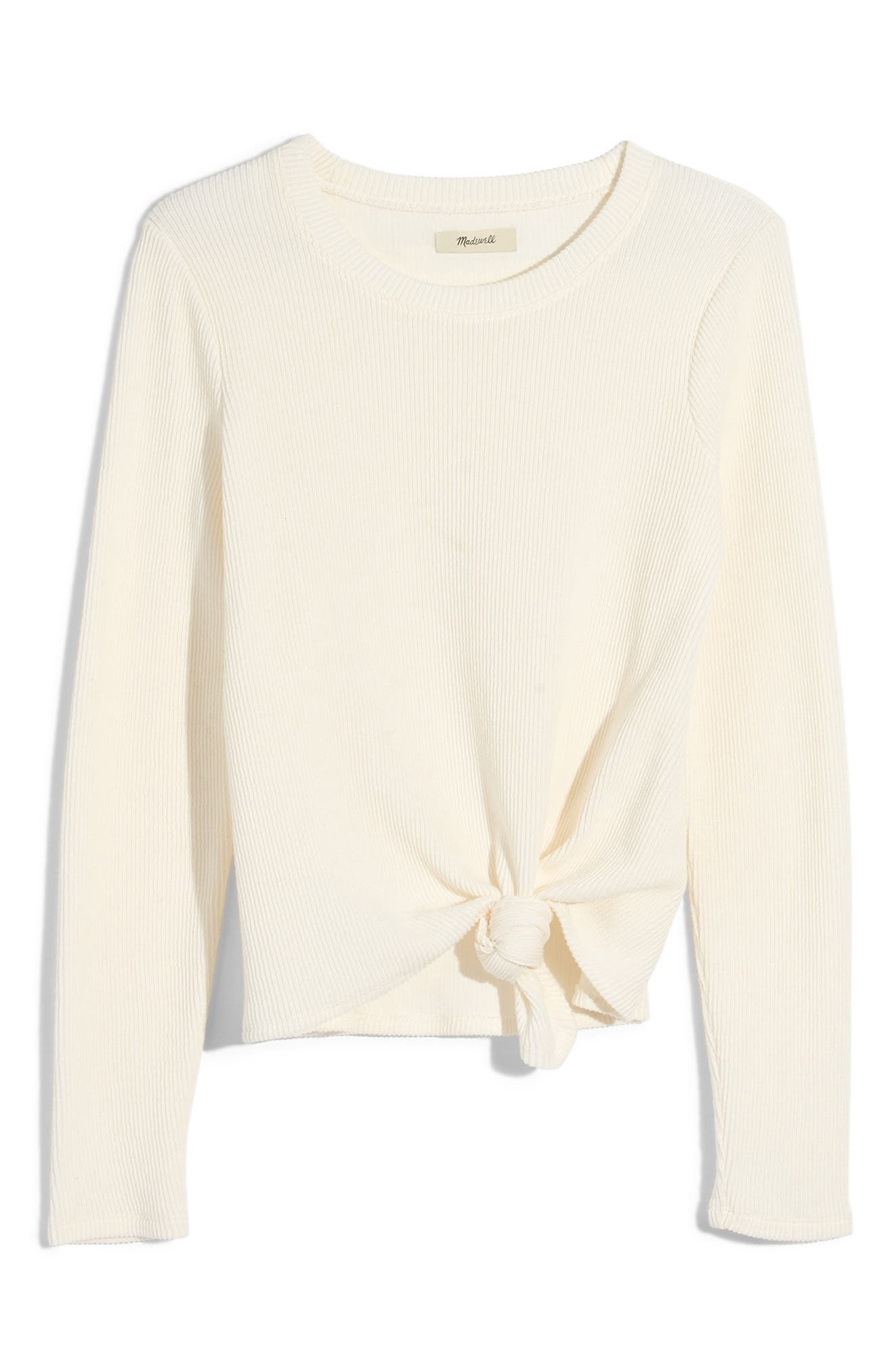 Texture & Thread Front Knot Jacquard Top, Main, color, BRIGHT IVORY