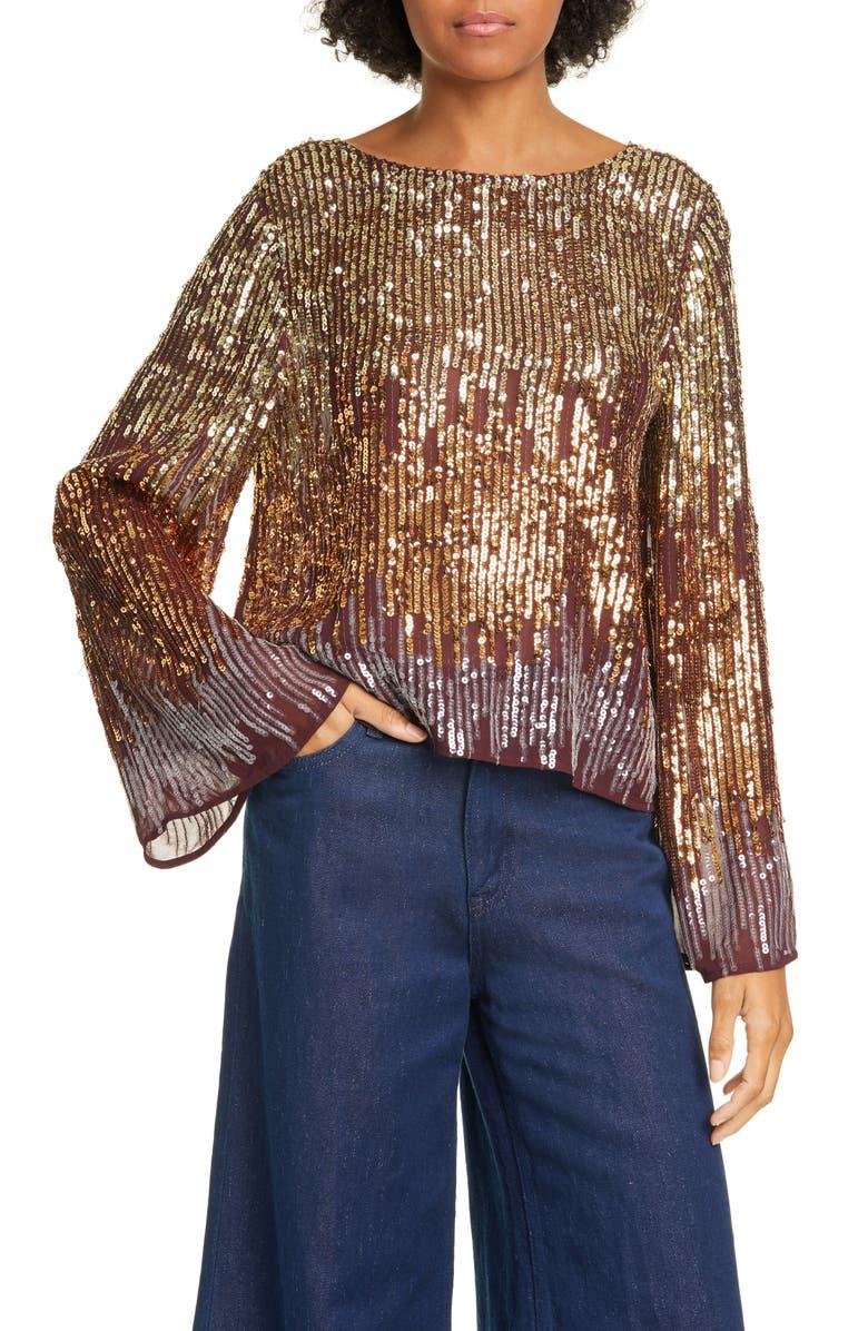 RIXO Bettina Sequin Bell Sleeve Top, Main, color, BRONZE OMBRE SEQUIN