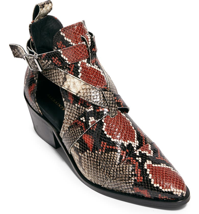 ALLSAINTS Darcy Pointed Toe Bootie, Main, color, DARK MULTI SNAKE PRINT LEATHER