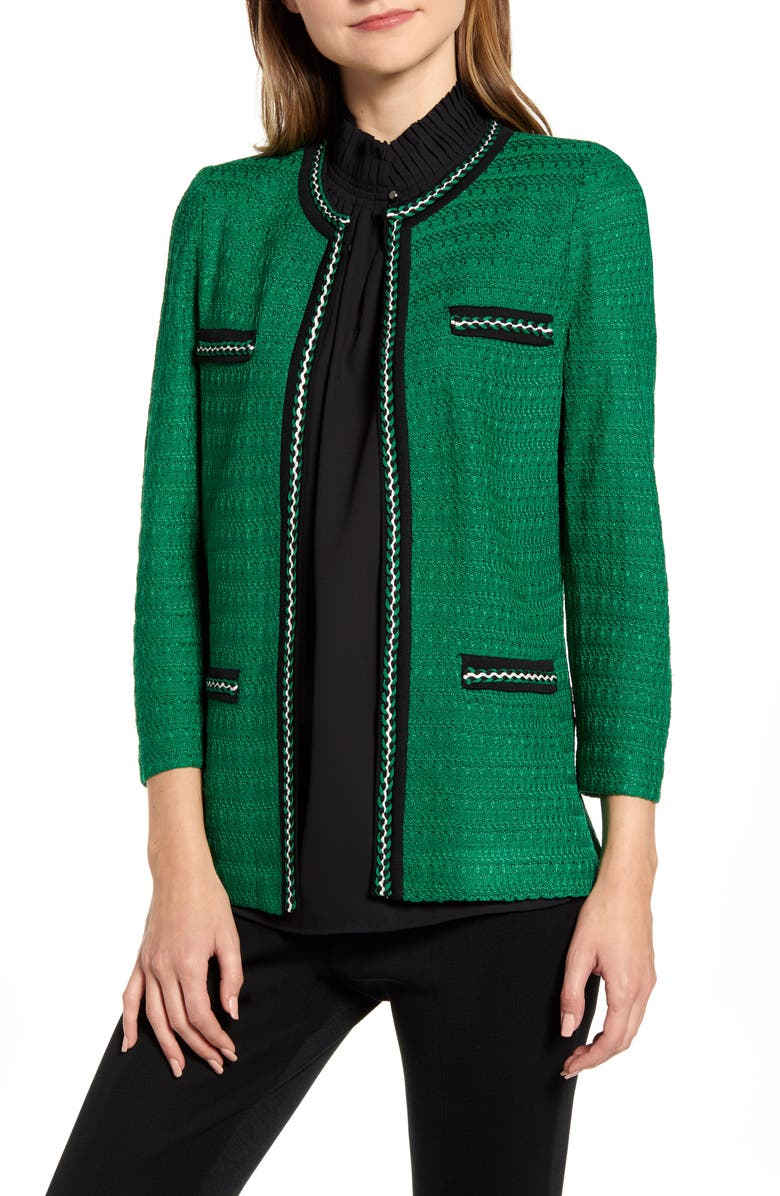 MING WANG Braided Trim Jacquard Jacket, Main, color, FOREST/ BLACK/ IVORY