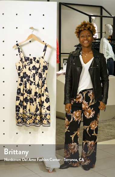 Floral Pleated Scuba Fit & Flare Dress, sales video thumbnail