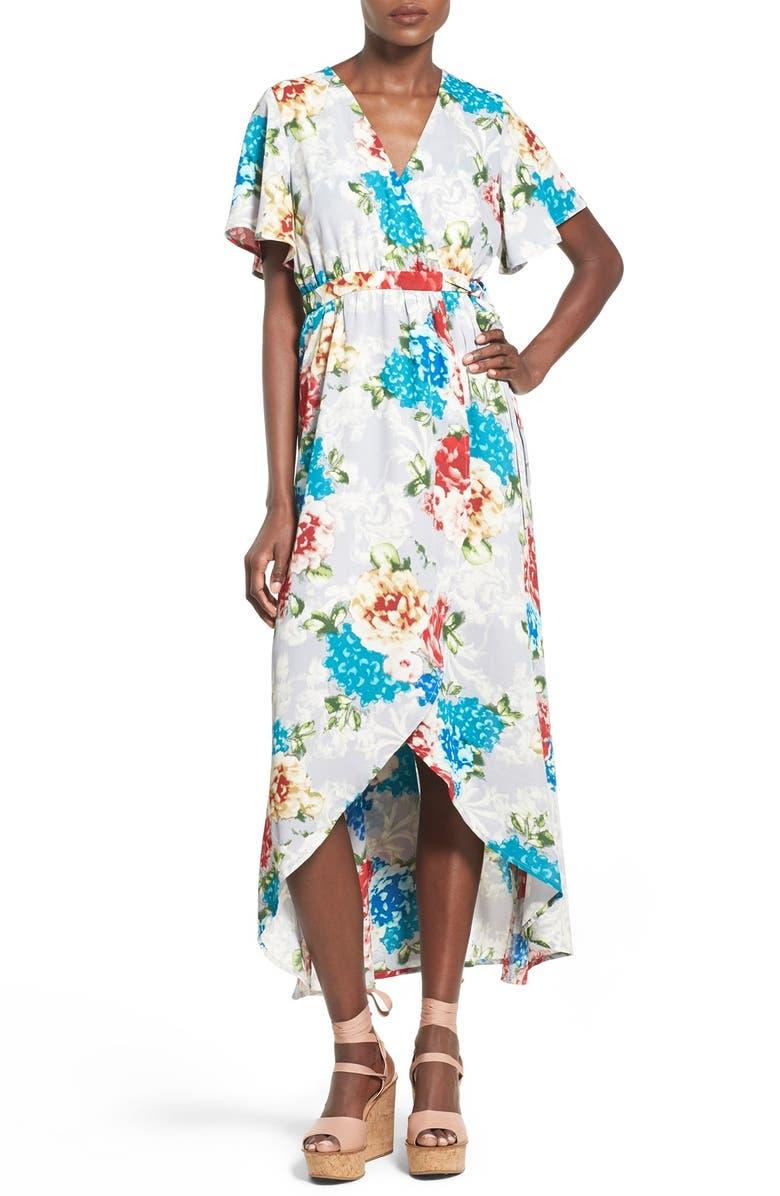 JUNE & HUDSON Floral Print High/Low Wrap Dress, Main, color, GREY/ RED/ TEAL