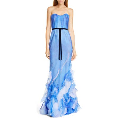 Marchesa Notte Strapless Tulle Mermaid Gown, Blue