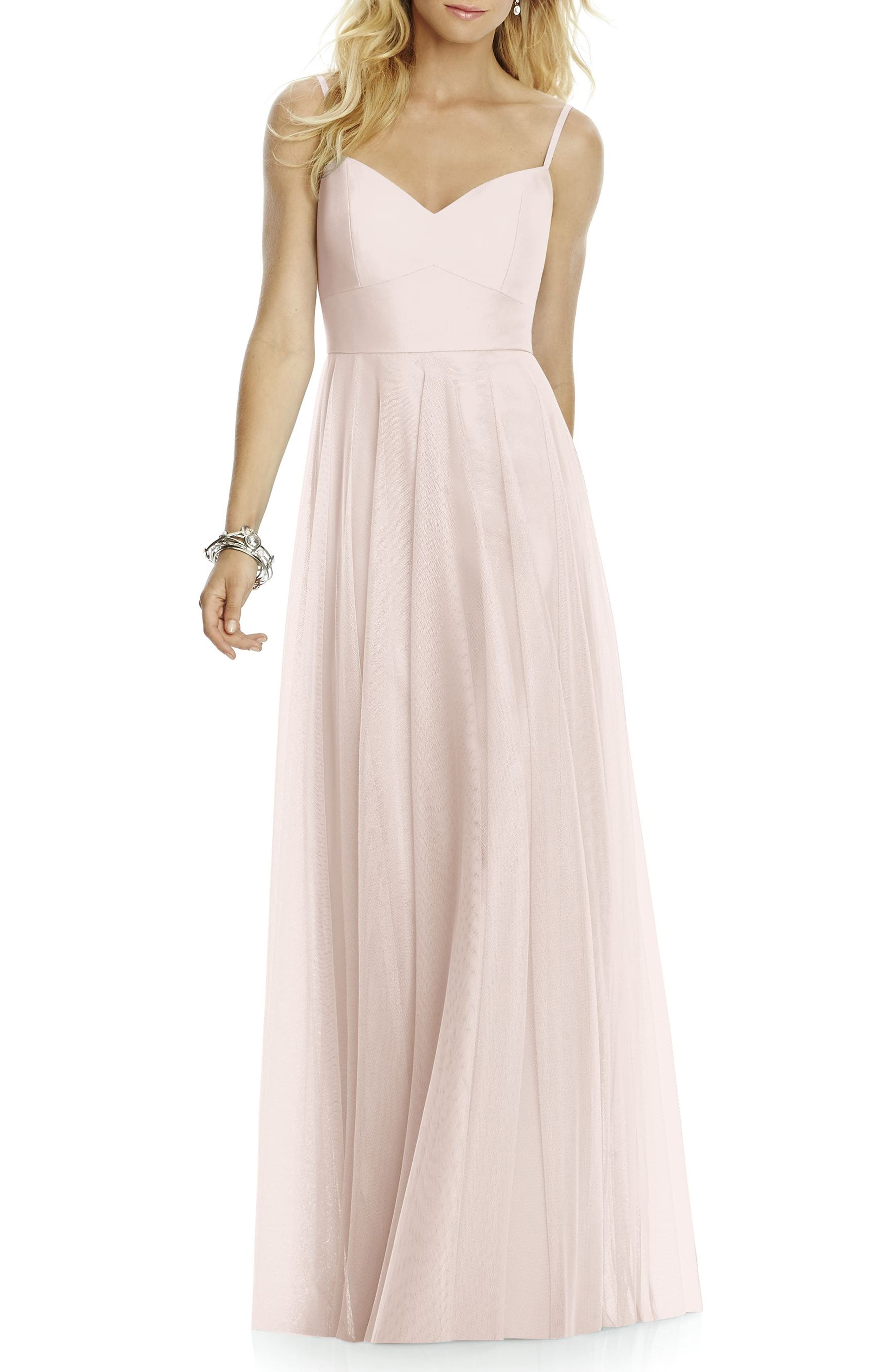 After Six Sleeveless Tulle A-Line Gown, Pink