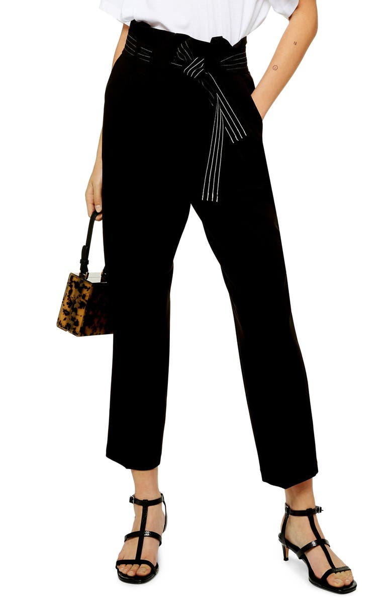TOPSHOP Terri Belted Straight Leg Trousers, Main, color, BLACK