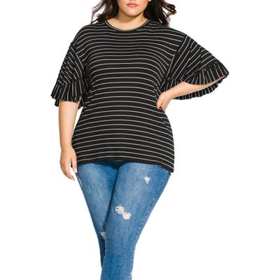 Plus Size City Chic Bliss Stripe Ruffle Sleeve Tee, Black