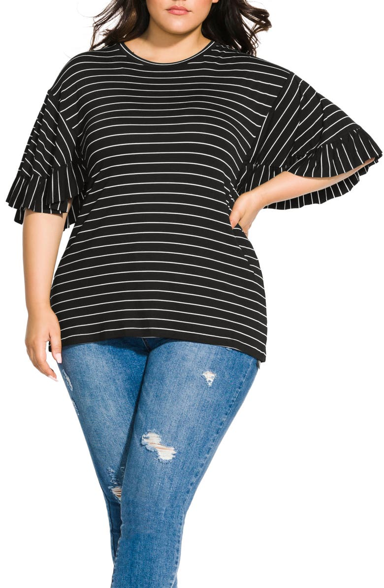 CITY CHIC Bliss Stripe Ruffle Sleeve Tee, Main, color, FINE STRIPE
