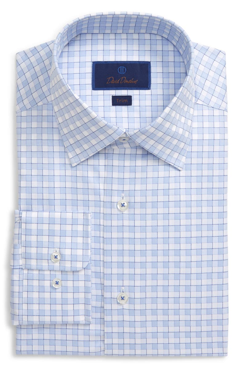 DAVID DONAHUE Trim Fit Plaid Dress Shirt, Main, color, 400