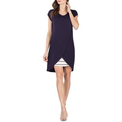 Savi Mom Lille Layered Maternity/nursing Sheath Dress, Blue