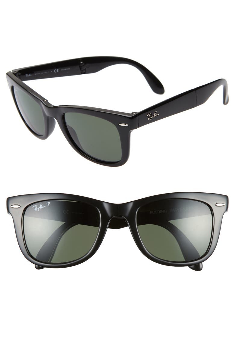 RAY-BAN 50mm Wayfarer Polarized Folding Sunglasses, Main, color, BLACK/ GREEN SOLID
