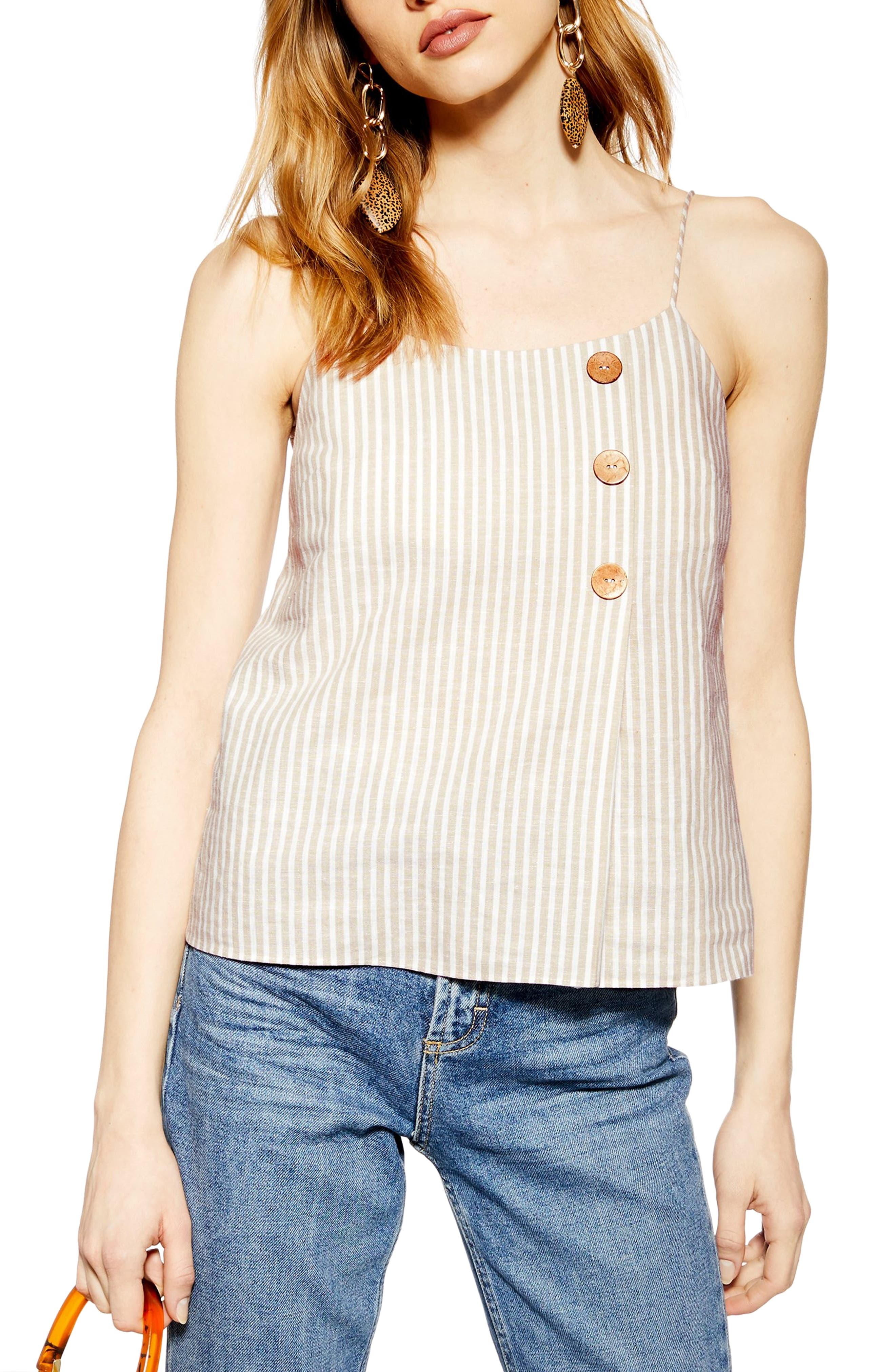 Topshop Stripe Button Wrap Camisole Top, US (fits like 10-12) - Beige