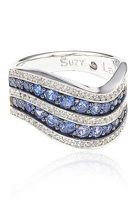 Image of Suzy Levian Sterling Silver Sapphire & Diamond Double Stripe Curved Band Ring - 0.02 ctw