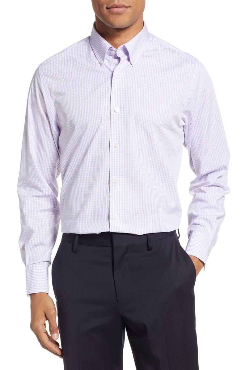 STANTT Slim Fit Check Dress Shirt, Main, color, PINK