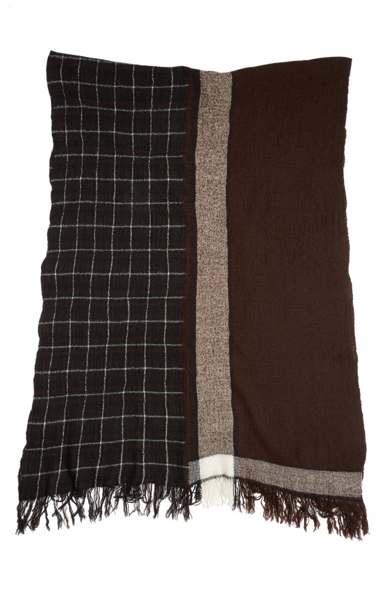 Y'S BY YOHJI YAMAMOTO Y's by Yohjj Yamamoto Two Panel Check Wool Scarf, Main, color, BLACK