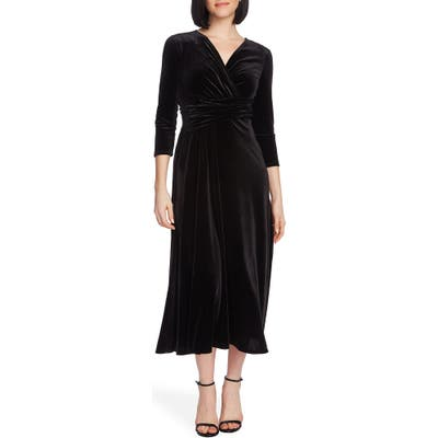 Chaus Faux Wrap Velvet Dress, Black