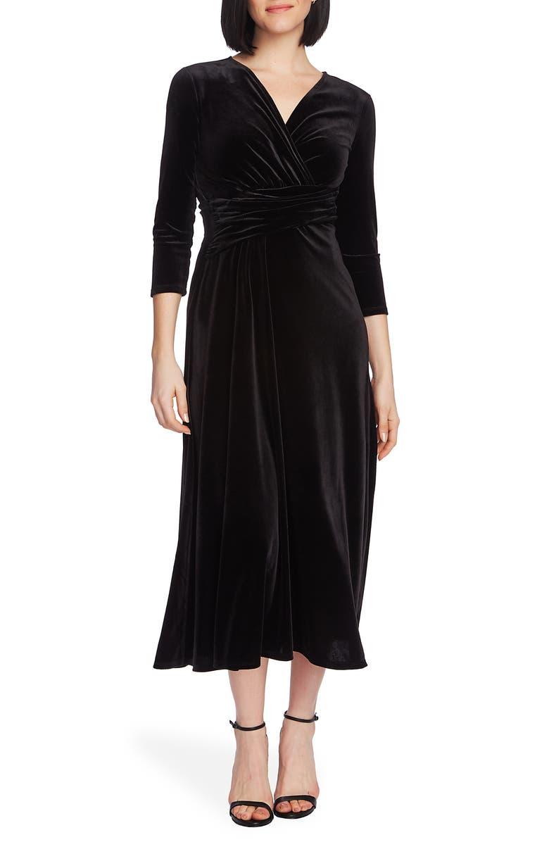 CHAUS Faux Wrap Velvet Dress, Main, color, RICH BLACK