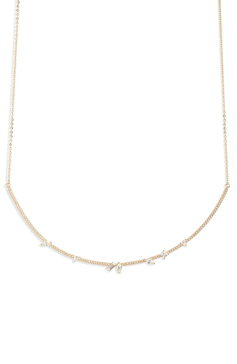 NORDSTROM Fancy Cubic Zirconia Pavé Bar Collar Necklace, Main, color, CLEAR- GOLD
