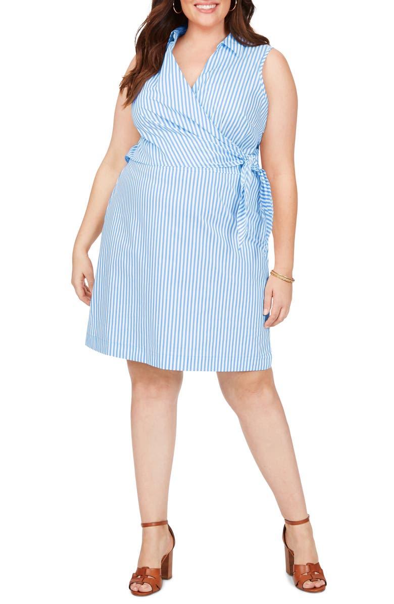 FOXCROFT Capri Twill Stripe Wrap Front Cotton Blend Dress, Main, color, MALIBU BLUE