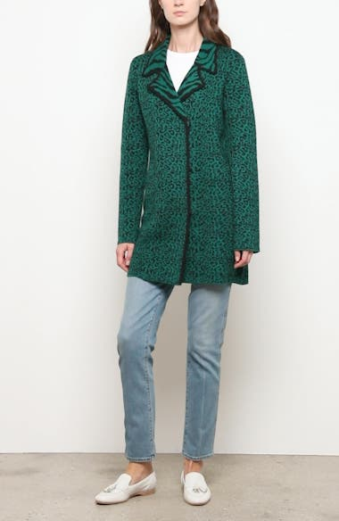 Leopard & Zebra Jacquard Wool Sweater Coat, video thumbnail