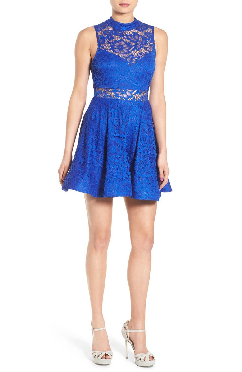 4051eb07ed714 Bee Darlin Illusion Mock Neck Lace Fit & Flare Dress   Nordstrom