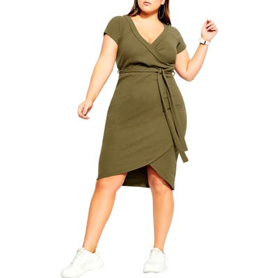 Plus Size City Chic Lounge Around Faux Wrap Dress