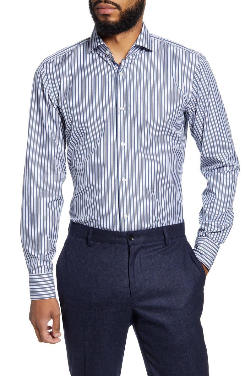 BOSS Slim Fit Easy Iron Stripe Dress Shirt, Main, color, NAVY