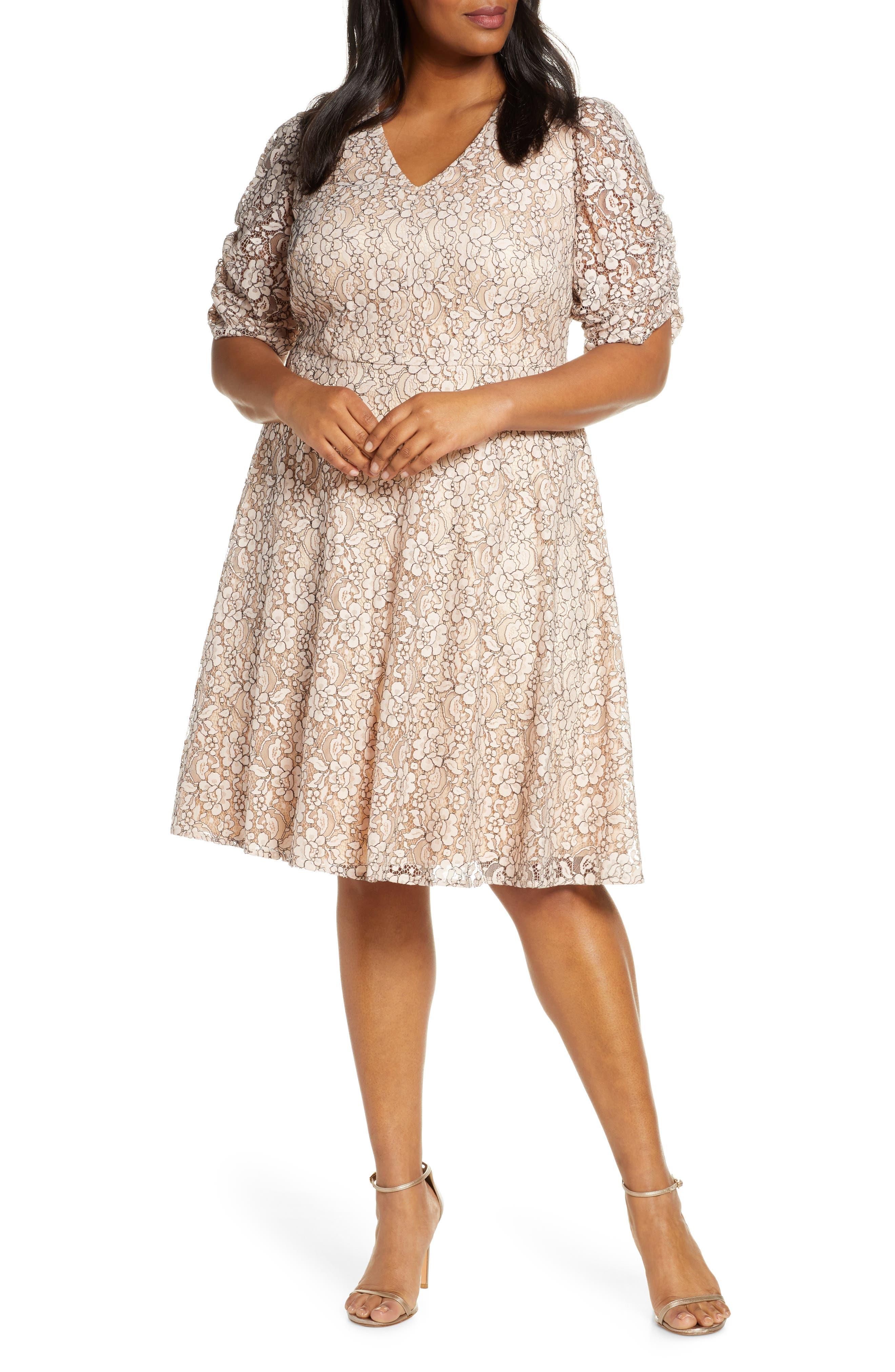 Plus Size Eliza J Lace Fit & Flare Dress, Pink