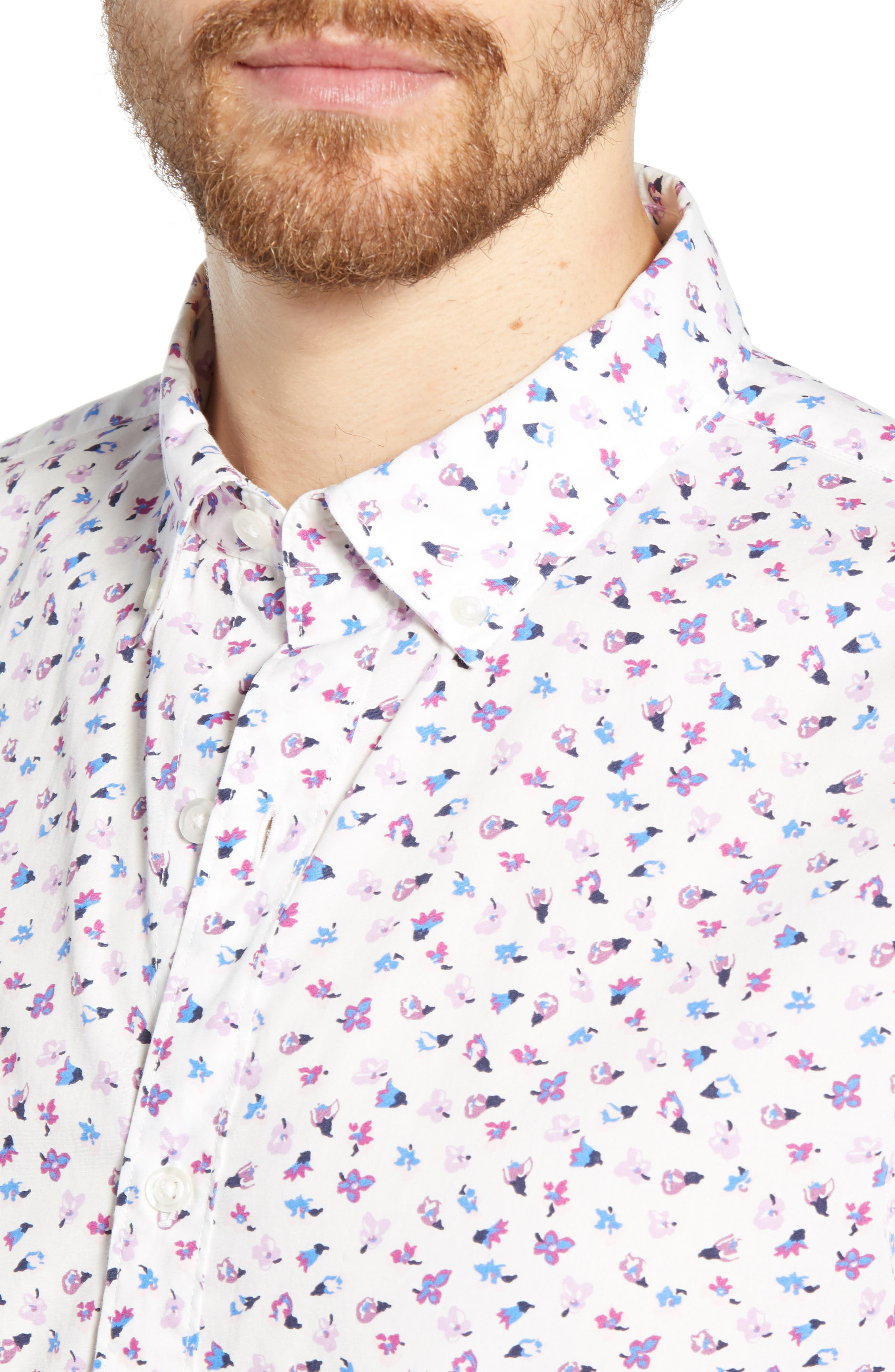,                             Washed Button Down Slim Fit Floral Print Sport Shirt,                             Alternate thumbnail 2, color,                             SMALL FLOWER SCATTER