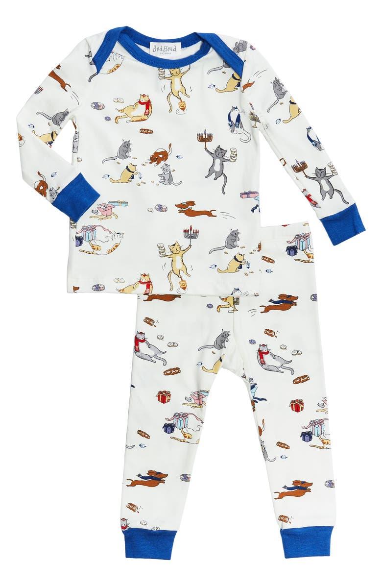 BEDHEAD PAJAMAS Boo Boo Fitted Two-Piece Pajamas, Main, color, MEOWZEL TOV