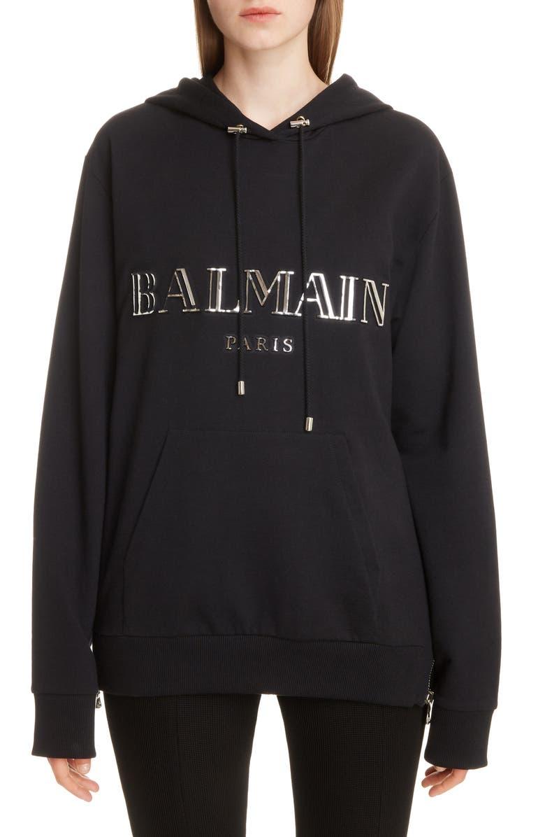 BALMAIN 3D Metallic Logo Hoodie, Main, color, NOIR/ ARGENT