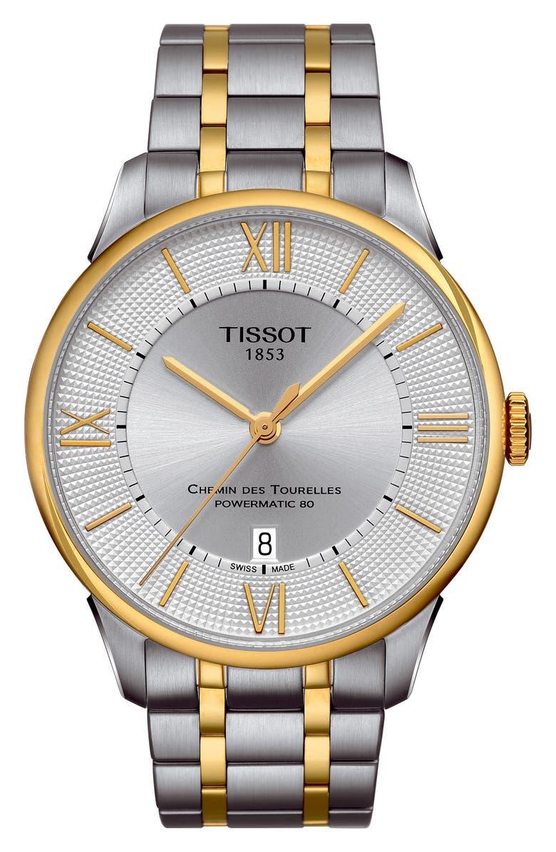 TISSOT Chemin Des Tourelles Automatic Bracelet Watch, 42mm, Main, color, 045