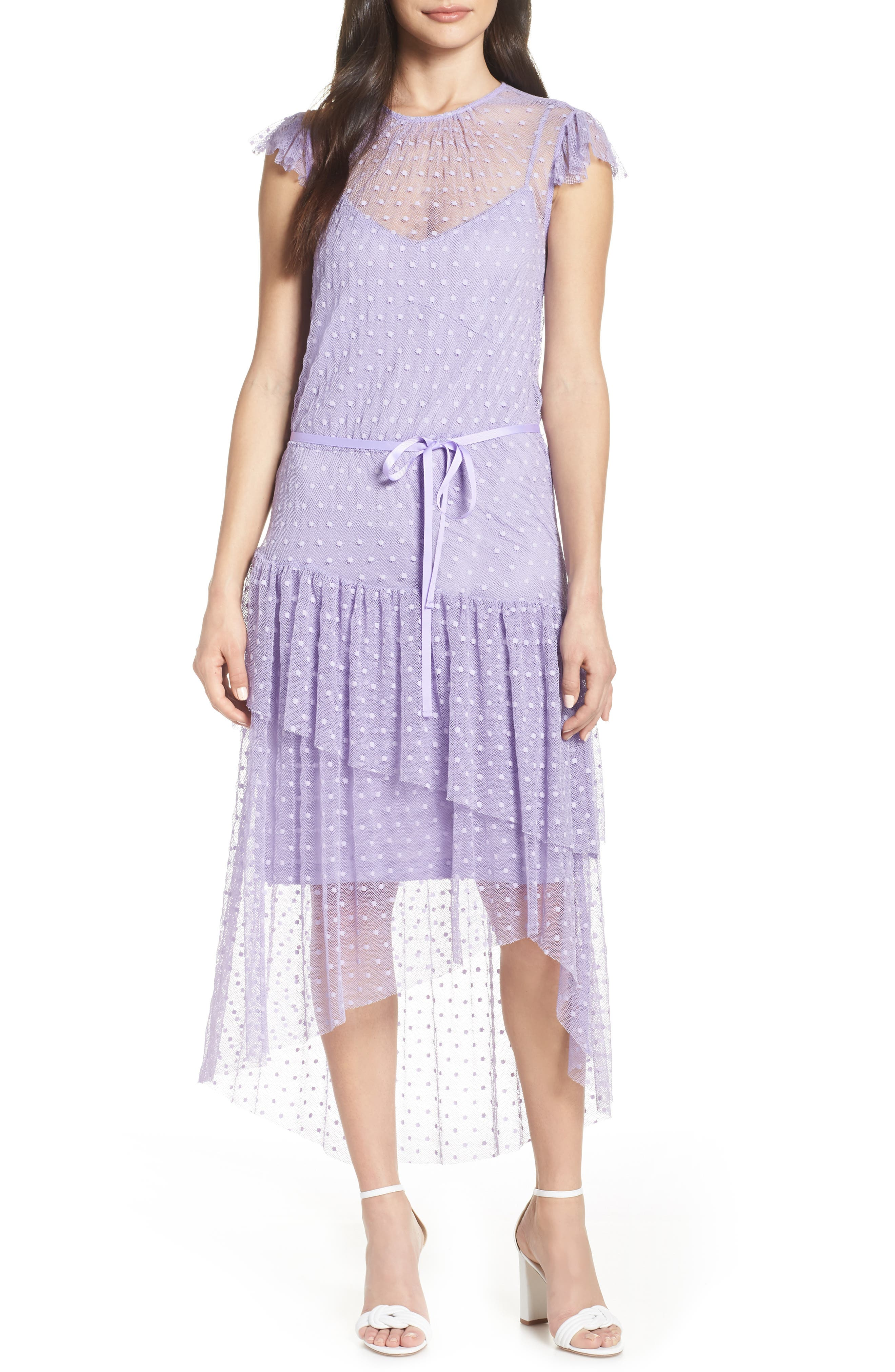 Forest Lily Dotted Mesh Dress, Purple