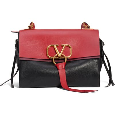 Valentino Garavani Medium V-Ring Leather Shoulder Bag - Black
