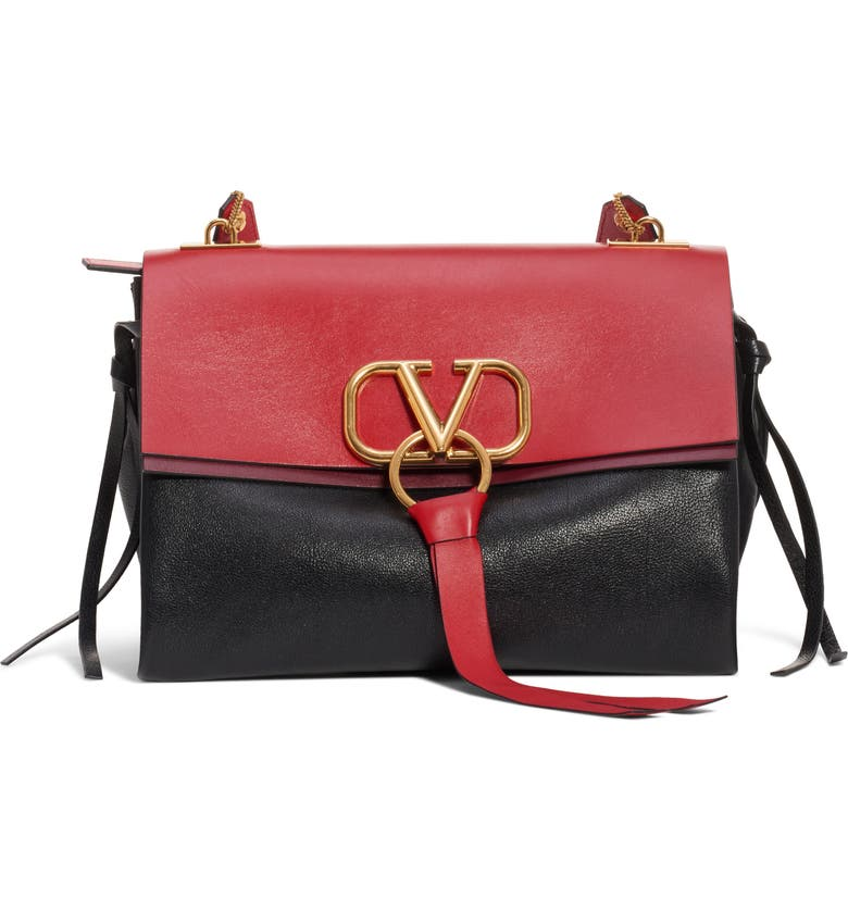 dc53a8e45e Medium V-Ring Leather Shoulder Bag, Main, color, ROUGE PUR-CERISE