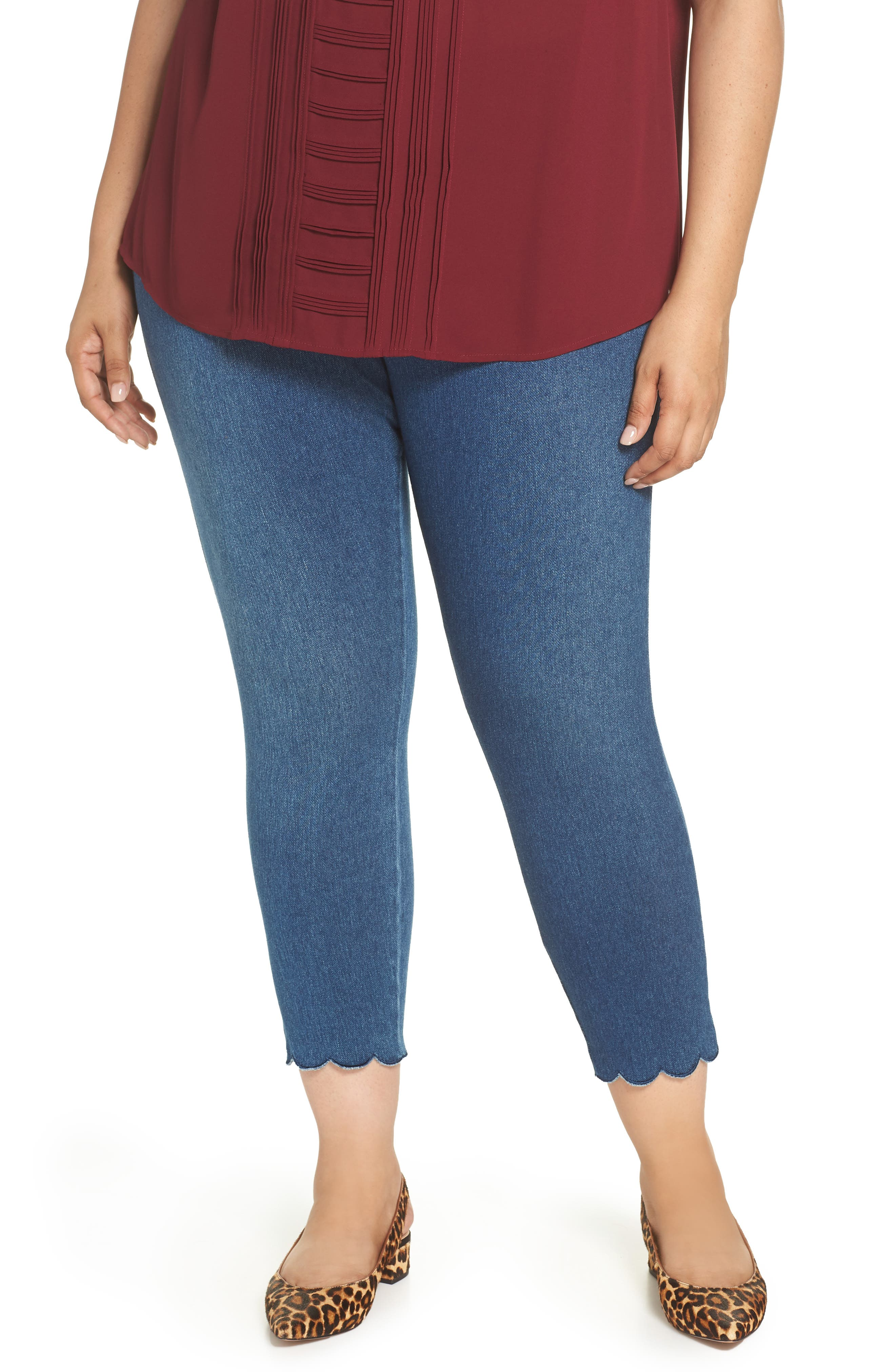 Plus Size Lysse High Rise Scallop Hem Denim Leggings, Blue