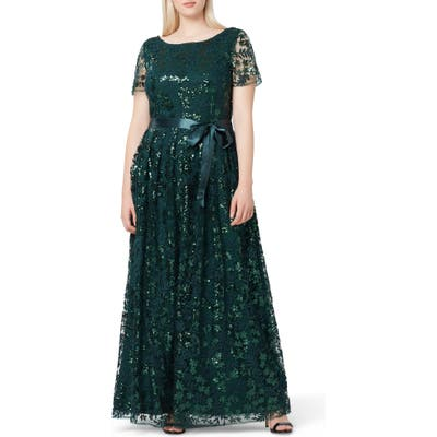 Plus Size Tahari Embellished Lace Gown, Green