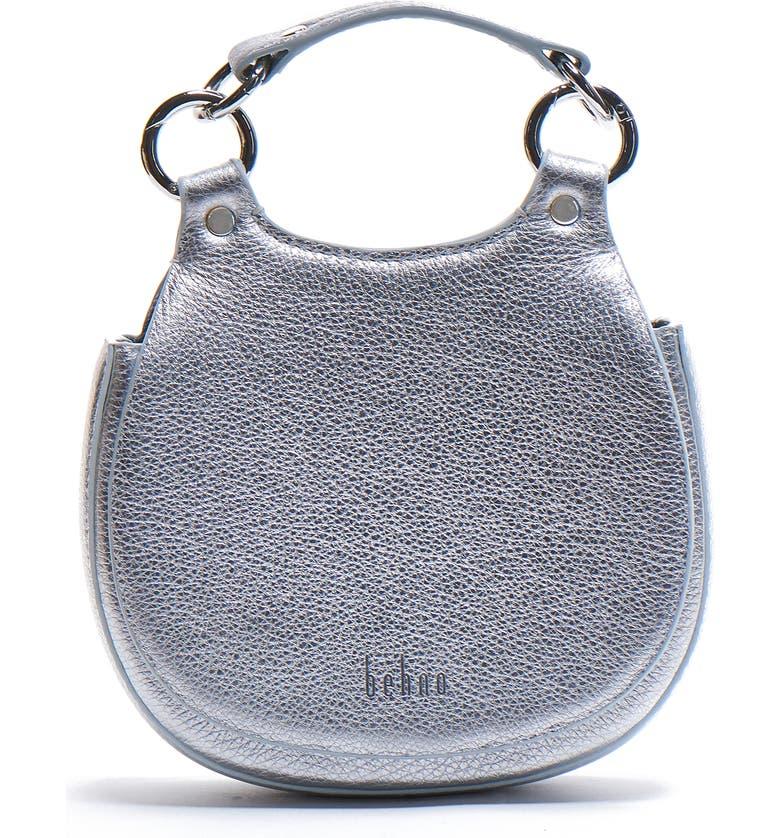 BEHNO Mini Tilda Leather Saddle Bag, Main, color, SILVER