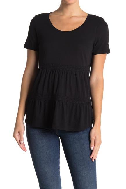 Image of Caslon Lace Trim Scoop Neck T-Shirt