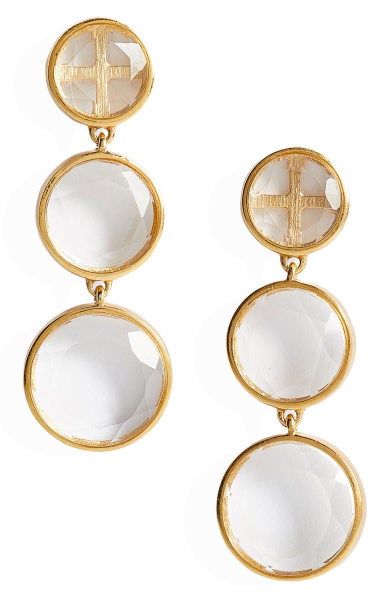 DEAN DAVIDSON Iconic Triple Drop Earrings, Main, color, CRYSTAL QUARTZ/ GOLD
